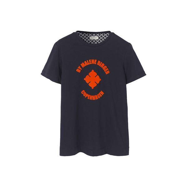 Navy t-shirt med velour print fra Malene Birger
